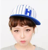韩国代购条纹字母H平沿街舞嘻哈棒球帽子 女 夏天 韩版休闲遮阳帽 价格:18.80