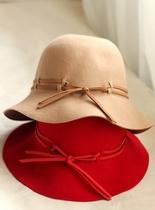 新款随意绳子装饰 冬季羊毛呢子圆顶驼色红色 礼帽 盆帽 渔夫帽子 价格:58.00