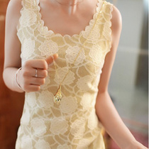 2013夏装女打底衫 T恤 韩版修身蕾丝玫瑰花刺绣背心 吊带 包邮 价格:25.02