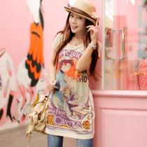 天使之城 女装 时尚数码印花 中长款 宽松 短袖 T恤 女 HF2338 价格:119.00