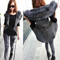 2013春秋装最新款韩版毛毛领女式马甲 大码修身中长款马夹外套潮 价格:37.10