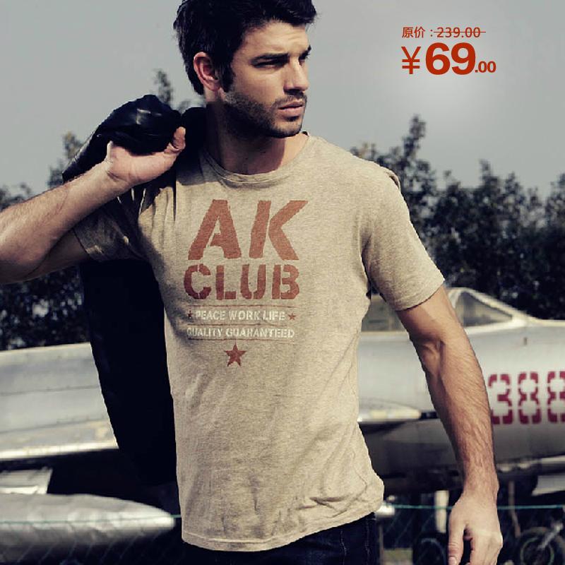 AK男装夏2013新款原创圆领男士印花T恤血短袖潮牌上衣服半袖纯棉 价格:69.00