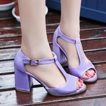 2013夏季新款韩版马蹄跟 高跟漆皮凉鞋 鱼嘴女鞋粗跟搭扣欧美爆款 价格:4.00