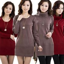恒源祥女士羊绒衫 修身韩版中长款毛衣连衣裙 打底衫清仓特价 价格:40.00