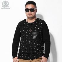 韦恩泽维尔  大号男装  胖胖加肥加大卡通圆领印花长袖T恤#1225 价格:129.00