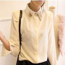 2013春装美丽说镶钻宝石领衬衣女长袖雪纺打底衫衬衫好质量 包邮 价格:36.00
