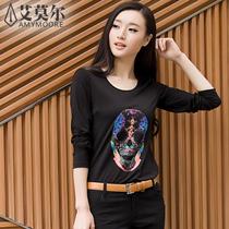 艾莫尔 2013新款秋装莫代尔打底衫圆领t恤女长袖韩版修身大码女装 价格:210.00