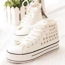 潮2013秋季新款铆钉高帮帆布鞋子韩版女鞋休闲鞋板鞋厚底鞋松糕鞋 价格:49.88