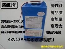 扬能电动车锂电池48V12AH磷酸铁锂 电动车电池 赠送充电器 包容量 价格:700.00