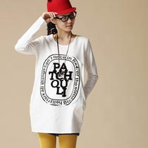 【云上生活】2013秋冬文艺中长款长袖t恤衫女字母t恤女 34T218 价格:149.00