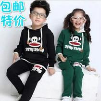 2013秋季女童套装 中大童运动儿童套装 大嘴猴男童套装 秋装童装 价格:89.00