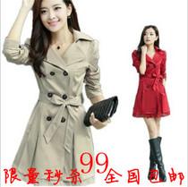 风衣女款2013新款秋装 女式红色外套 韩版修身中长款气质女装特价 价格:99.00