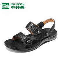 木林森男凉鞋真皮沙滩鞋头层牛皮凉拖鞋子2013新款MM25950 价格:90.00