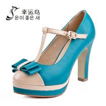 2013 秋季新款粗高跟 色拼接蝴蝶结搭扣单鞋女幸运鸟 X13DH59591 价格:159.00