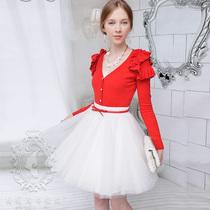 空调衫粉红大布娃娃秋装女外搭修身荷叶边气质毛衣小针织开衫薄 价格:169.00