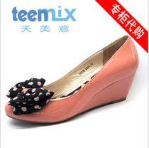 2013新款专柜正品 坡跟高跟蝴蝶结 真牛漆皮女单鞋子531 特价包邮 价格:108.00