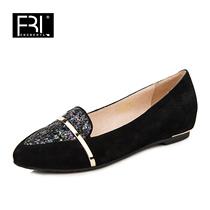 正品菲伯丽尔2013秋新款羊皮平跟闪亮片金属单鞋女鞋子FB33S11105 价格:368.00