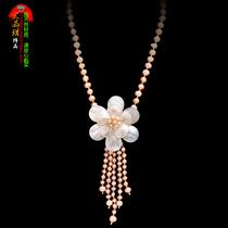 宝晶琪 项链 女 短款 锁骨链 珍珠母贝 花朵项链 韩版 饰品 百搭 价格:148.00