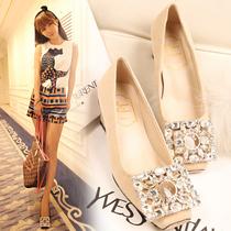 2013女单鞋新款欧美镂空RV水钻方扣方头真羊皮中跟单鞋粗跟女鞋 价格:168.03