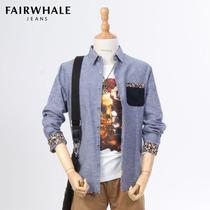马克华菲2013新款专柜正品长袖衬衫男装秋装男士修身拼接纯棉衬衣 价格:297.00