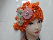 密雪儿 手钩花朵烫钻女生冬天帽子 价格:88.00