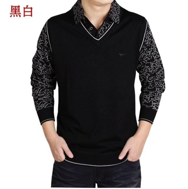 2013春装 七匹狼男装长袖T恤中年男士t恤衫韩版假两件套打底衫强 价格:68.00
