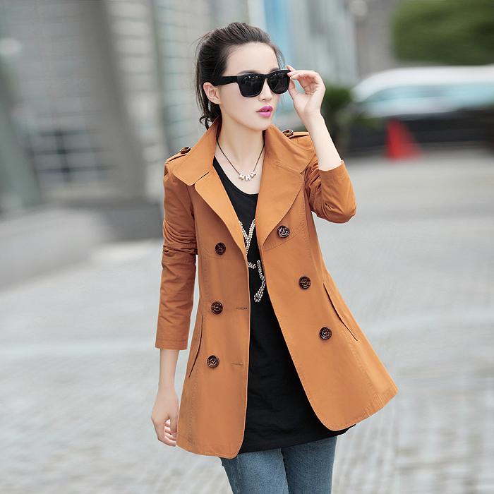 正品风衣女款 2013新款韩版修身中长款双排扣翻领简约长袖棉外套 价格:195.00