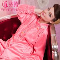 芬腾睡衣2013冬季新款女镂空花边长袖长裤超细柔珊瑚绒家居服套装 价格:189.00