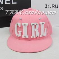 韩国代购粉色BOY GIRL亚克力平沿街舞嘻哈翻檐棒球帽原宿女士帽子 价格:28.00