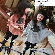 2013秋季新款女童长袖t恤蝙蝠袖套头衫儿童装女童打底衫 价格:29.00