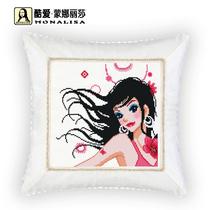 包邮十字绣抱枕新款酷爱蒙娜丽莎靠垫 车枕夏日的诱惑 价格:28.80