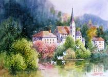 名家作品武朝利水彩画风景画写实 瑞士风光 收藏送礼装饰wzl035 价格:660.00