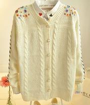 2013秋季新款 日系针织衫女开衫秋 刺绣甜美森女薄款毛衣外套 价格:39.90