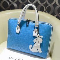 2013秋季新款欧美时尚女包潮小狗挂件ipad电脑包手提包公文包 价格:43.60