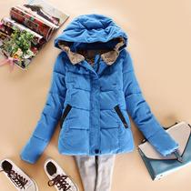 2013新款女装冬装韩版 糖果色连帽加厚纯色修身短款棉衣棉服外套 价格:105.00