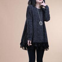 2013春装新款长袖风雪纺蕾丝拼接宽松连衣裙款毛衣外套女装上衣 价格:189.00