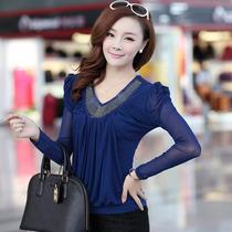 包邮 2013秋装新款大码女装韩版修身低领网纱打底衫长袖t恤女上衣 价格:49.00