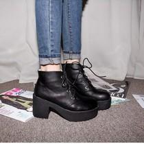 包邮新款韩国代购鞋单靴子女春秋短靴马丁靴女英伦高跟粗跟厚底鞋 价格:78.08