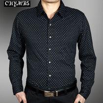 希马仕春秋装 丝光棉长袖衬衫男 男士休闲衬衣 中年格子印花衬衫 价格:128.00