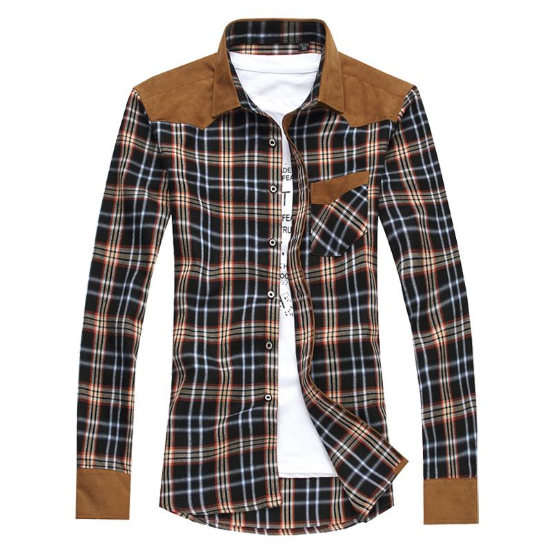 远东秋装长袖衬衫男士韩版休闲衬衣男长格子衬衫男长袖修身潮男装 价格:49.90