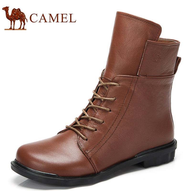 camel骆驼短靴 女士皮靴复古潮流短靴 真皮头层牛皮 圆头马丁靴 价格:378.00
