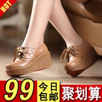 2013新秋款坡跟女鞋欧美风英伦女鞋休闲鞋女单鞋真皮厚底松糕女鞋 价格:99.00
