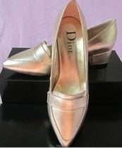 D家欧洲站英伦复古女士单鞋羊皮尖头中跟真皮鞋浅口粗跟新款潮鞋 价格:238.00