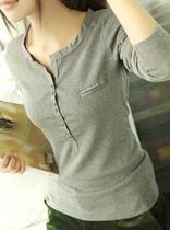以纯2013秋装韩版女装大码圆领弹力棉V领修身显瘦拼接长袖打底衫 价格:34.00