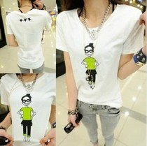 2013女装夏装新款韩版潮姐妹装有点绿短袖女式T恤修身显瘦上衣服 价格:16.00