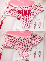 5件包邮。____ pink 粉豹纹纯棉女生内裤 小清新全棉字母底裤 价格:11.50