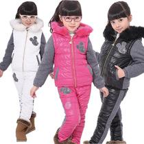 特价2013韩版中大女童拼皮秋冬套装时尚女孩儿童装两件套6-15岁 价格:105.00