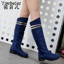 2013冬季新款欧美简约优雅金属装饰中跟骑士靴长靴磨砂皮女靴女鞋 价格:69.00