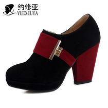约修亚 2013秋靴新款真皮高跟防水台粗跟裸靴 短靴 女 及踝靴 HY7 价格:149.00