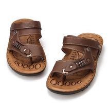 2013新款潮流男式拖鞋皮凉鞋男夹趾沙滩鞋男士凉鞋男鞋两用凉鞋子 价格:35.00